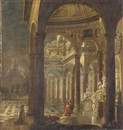 Wilhelm Schubert van Ehrenberg, An architectural capriccio with Bathsheba receiving the news of the death of her husband Uriah the Hittite