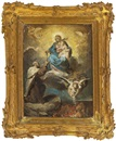 Circle Of Francesco Zugno the Younger, La Madonna con il Bambino porge il rosario a un Santo (design for an altarpiece)