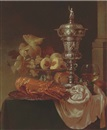 Gyula Andreas Bubárnik, Lobster, peaches, grapes and oranges on a silver platter, with a roemer silver cup and cover