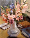 Celine Marie Tabary, Gladiolas in white vase with books