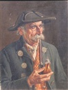Franz Xavier Wölfle, Old man with a pipe (+ Man with a red vest,smaller; 2 works)