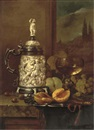 Gyula Andreas Bubárnik, A silver-mounted ivory tankard, a peach, some grapes and a glass goblet, on a stone ledge with a landscape beyond (+ A bowl and cover, a lemon, some cherries, grapes and a jug; pair)