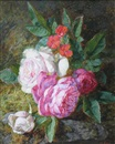 Martha Darley Mutrie, A posy of roses on a mossy bank