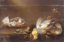 Alexander Adriaenssen, Still life with a bowl of fish, a glass, a flagon, a partridge, a kingfisher, a blue tit and other songbirds on a wooden table