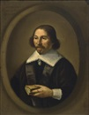 Attributed To Isaack Jacobsz. van Hooren, A portrait of a gentleman, aged 48, half length, wearing a black coat with white lace cuffs and collar, holding a book, in a painted oval