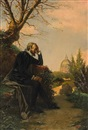 Gualterio de Bacci Venuti, A portrait of Torquatto Tasso in contemplation at San Onofrio, Rome (+ Portrait of the poet Lodovico Ariosto in his library; pair)
