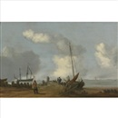 Attributed To Cornelis de Bie, A coastal landscape with figures on a jetty, a sailing boat moored to its right
