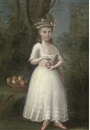 Anglo-American School (18), Portrait of a girl  in a white dress, holding an apple, in a wooded landscape
