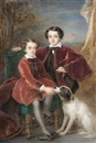 Pierre Paul Emmanuel de Pommayrac, Two boys of the Hennessy family, the younger seated on a green upholstered chair, wearing rust-coloured Petersham coat, the elder, standing, wearing trimmed burgundy cape over black suit