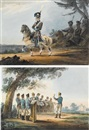 Karl Ivanovich Kollmann, Military scene (+ another; pair)