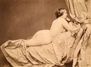 Joseph Auguste Belloc, Reclining female nude on chaise longue