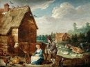 Follower Of Abraham Teniers, Bondgård med figurer och kreatur