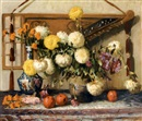 George C. Michelet, Nature morte aux fruits et aux dahlias