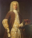 Circle Of John Theodore Heins Sr., Portrait of a nobleman, three-quarter-length, in a brown coat and gold and silver embroidered waistcoat, standing beside a baron's coronet on a table