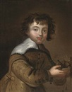 Anglo-Dutch School (17), Portrait of a boy, standing, half-length, with a birds nest in his hands