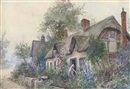 James Hughes Clayton, Tending to a cottage garden (+ Villagers making their way to market; pair)