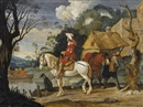 Monogrammist Phb I, River landscape with cavaliers waiting for a ferry
