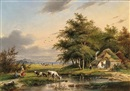 Gerardus Hendriks, Cows in a meadow, travellers resting nearby