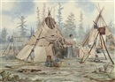 William Wallace Armstrong, Indian camp with two wigwams - Northern Ontario