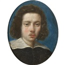 Attributed To Cesare Dandini, Portrait of a gentleman, head and shoulders, wearing black with a white ruff, with a blue background