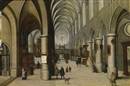 Circle Of Hendrick van Steenwyck the Elder, A church interior with figures strolling