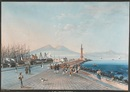 Giuseppe Gustavo Scoppa, A view of the Bay of Naples with numerous figures in the foreground (+ gouache attributed to the same artist; pair)