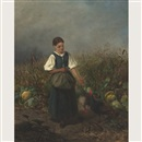 Carl von Kratzer, Country girl feeding turkeys in a cornfield