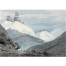 John Robert Cozens, Between Chamonix and Martigny - The Aiguille Verte