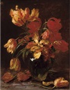 Alexis Kreyder, Parrot tulips in a glass vase