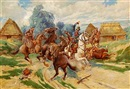 Workshop Of Stanislaw Jankowski, Cossacks fighting Prussian cavalry officer
