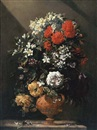 Jean-Michel Picart, Carnations, irises and blossom in a sculpted vase on a stone ledge