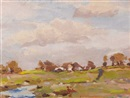 Michael Healy, Cottage and river flats, near Dublin