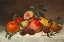 Peter Baumgras, Still life with plums, pears, pomegranates, and apples
