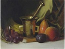 Herbert E. Abrams, Still life with fruit and mortars and pestle