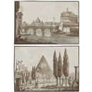 Attributed To Carlo Labruzzi, Views of Rome (8 works, various sizes)