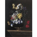Jean-Michel Picart, A still life of flowers in a ormulu mounted lapis lazuli vase on a stone ledge