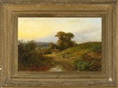 Claridge Turner, View of a woman walking on a hilly countryside path at sunset