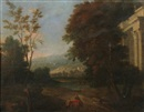 Attributed To Pierre Patel, Italianate landscape with figures and ruins