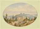 Jean Nicholas Karth, View of Barr in the Elzas (+ View of the château d'Andlau; 2 works)