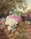 Mary Elizabeth Duffield, Roses, fuschia, poppies and hollyhocks on a brick wall