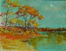 William Staples Drown, Autumn trees by a lake