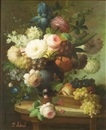 Isabelle Gabriel, Still life with flowers and grapes