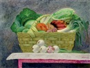Lauro López, Still life of fruit and vegetables in a basket