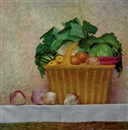 Lauro López, Still life with vegetables and fruit in wicker basket