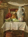 August Allebé, A still life with stoneware jugs and a feather on a kitchen chair
