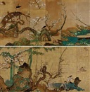 Japanese School-Unkoku (17), Birds and flowers in spring (+ another; pair)