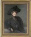 John Shirley Fox, Portrait of a lady, in a black dress, stole and hat