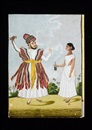 Indian School-Tanjore (19), A nobleman wearing a mauve jama tied with a gold-embroidered patka standing with his wife (+ 3 others, smllr; 4 works)