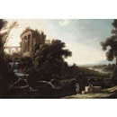 Attributed To Pierre Patel, A river landscape with figures resting beneath a capriccio view of the Temple of Vesta at Tivoli