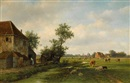 Willem Vester, A sunny landscape with cattle near a farm